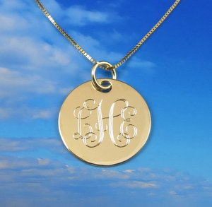 14k solid gold monogrammed pendant mozeypictures Choice Image